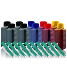Ink Set 4 Colours (BKx4/Cx2/Mx2/Yx2). 1000 ml. Refill Ink. Free Delivery.