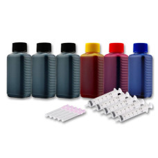 Ink Set 4 Colours (BK/C/M/Y). 300 ml + 3 x 100 ml. Refill Ink. Free Delivery.