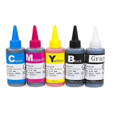 Ink Set 5 Colours with grey (BK/C/M/Y/GY). 5 x 100 ml. Refill Ink. Free Delivery.
