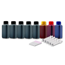 Ink Set 4 Colours (BK/C/M/Y). 500 ml + 3 x 100 ml. Refill Ink. Free Delivery.